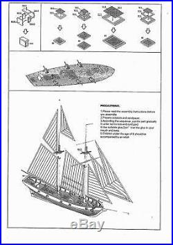 1100 Scale Wooden Wood Sailboat Ship Kits Home DIY Model Boat Gift Toy for Kids
