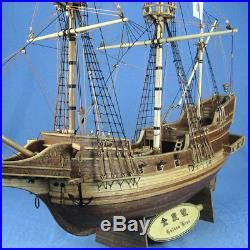 Golden Wooden Sailboat Hind Classic Boat Kits Model Assembly Kit DIY Ship Toy