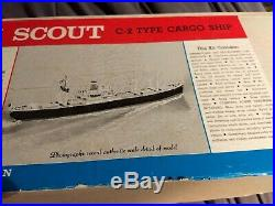 Sterling Models American Scout C-2 Wooden Cargo Ship model in Box INCOMPLETE